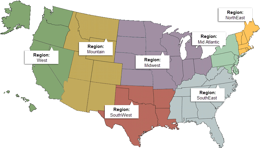 Incentive Reps - Usa map north south east west